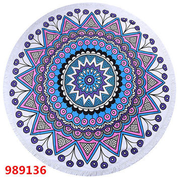 Women's Large Round Pink Blue White Mandala Print Beach Towel Blanket with Tassel Accents