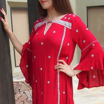 Tale To Tell Embroidered Red Print Long Sleeve Shift Dress