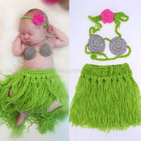 Baby Girl 3 Pieces Photo Prop Costume Photography Prop Knitted Crochet Headband Bra and Skirt Set (Color: Green) = 1958171844