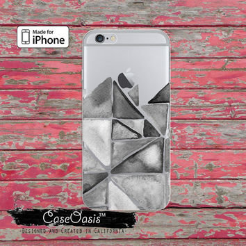 Triangle Pattern Gray Watercolor Art Cute Clear Case iPhone 6 iPhone 6s iPhone 6s Plus iPhone 5/5s iPhone 5c iPhone SE iPhone 7 Plus Case