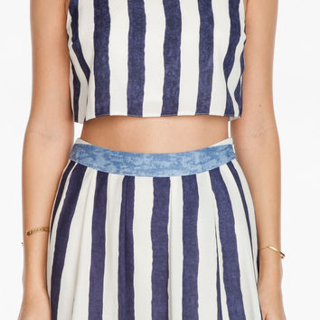 Seaside Stripes Printed Open Back Crop Top - Blue/White