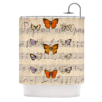 "Suzanne Carter ""Butterfly Opera"" Music Tan Shower Curtain"