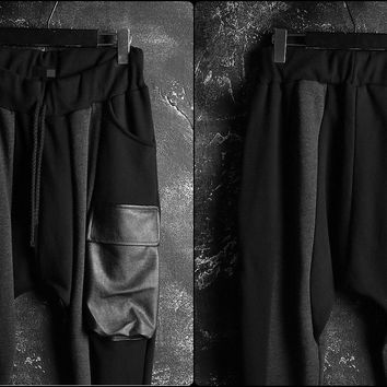 Drop Crotch Leather Pocket Cargo Jersey Pants -Colourblock