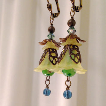Yellow and Green Bell Flower earrings with Brass