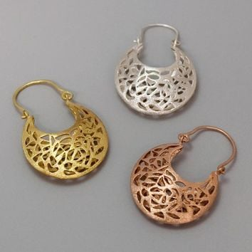 Handmade Gold Earrings Lace - Golden Small Basket Lace - 14k gold coated jewelry