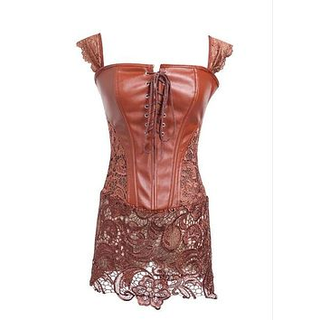 Corset Women Black Faux Leather&Lace Steampunk Corset Dress Gothic Bustier Corset Sexy Corsets and Bustiers