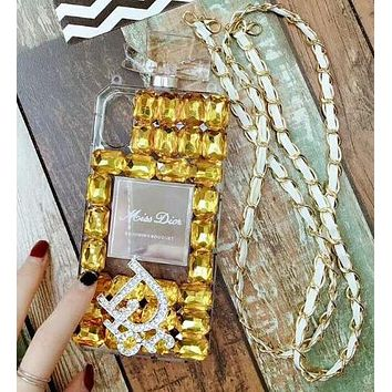 Dior Popular Women Luxury Delicate Crystal Perfume Bottles Mobile Phone Cover Case For iphone 6 6s 6plus 6s-plus 7 7plus 8 8plus X Yellow