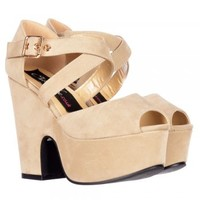Onlineshoe Peep Toe Demi Wedge Block Heels - Cross Over Strappy Summer Sandals - Red, Black, Nude Beige Suede - Onlineshoe from Onlineshoe UK