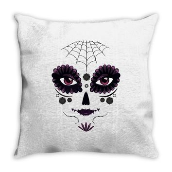 girl day of the dead Throw Pillow