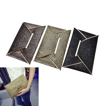 New Clutches Women Bags luxury brand Evening Party Bag Gold Sequins Envelope Bag Purse Clutch Handbags Shiny Solid Ultrathin