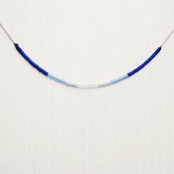 Ombre Blue Bead & Silk Cord Necklace