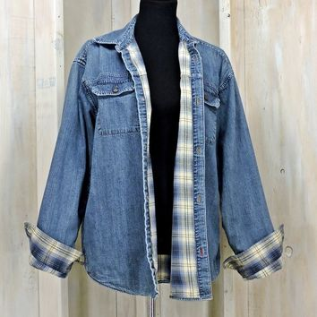 Vintage 90s Levis denim jacket / Mens M / Womens L / Flannel lined denim jacket / Oversized / Grunge / Levis Genuine Workwear