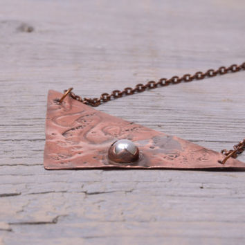 single pearl necklace boho long necklace copper triangle necklace geometric statement necklace pearl pendant gift women bohemian jewelry