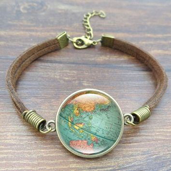 Art World Map Vintage Globe Leather Bracelet Art Glass Dome