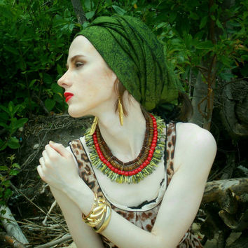 Yellow & Green Turquoise, Red Coral Bamboo, Amber Mix Shell, Antique Gold Bib Statement Necklace (Optional Pierced Or Clip-On Earring Set)