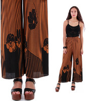 Accordion Pleated High Waist Wide Leg Pants Mustard Brown Palazzo Boho Chic Floral Trousers 80s 90s Vintage Clothing Womens Size XS Small