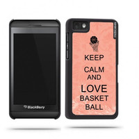 Keep Calm And Love Basketball Coral Floral Blackberry Z10 Case - For Blackberry Z10