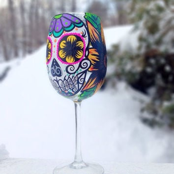 Hand painted sugar skull and sunflower wine glass