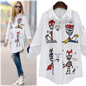 CREYYN6 New 2017 Fashion Spring Summer Women Swallowtail Long Shirt Turn-down Collar Skull Casual Long Sleeve Temperament White Blouses