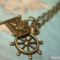 Pirate's of the Caribbean, Captain Hook, Pirate Flag & Ships Wheel Bronze Charms Necklace