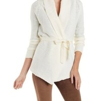 Belted Shawl Collar Cardigan Sweater by Charlotte Russe