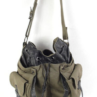 Very Cool Tylie Malibu Military Green Canvas Hobo Pocket Bag Handbag Bucket Purse