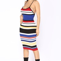 Aimee Midi Dress - Royal Multi