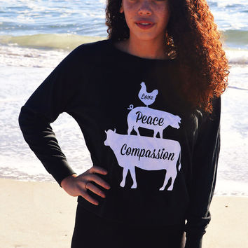Love, Peace, Compassion Triblend Pullover