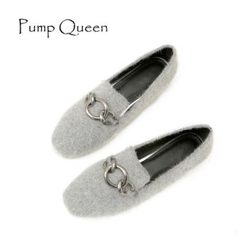 Woman shoes 2017 Flock Casual Loafers Square Toe Autumn Flats Buckle Slip-On Large Siz