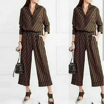 FENDI WOMEN'S FASHION HIGH QUALITY WIDE LEG PANTS SUIT