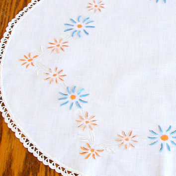 Vintage Cotton Oval Table Topper Embroidered Centerpiece Crochet Lace Cream Peach Blue