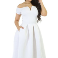 Classy White Vintage Party off the Shoulder Cocktail Swing Midi Stretch Dress