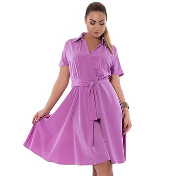 Plus Size wrap Dress Fashion Women Sashes Loose Short Sleeve Collar Casual Clothing blue pastel