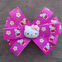 Flowery Pink Hello Kitty Hair Bow