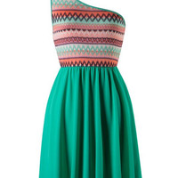 Zig Zag One Shouldered Dress - Green