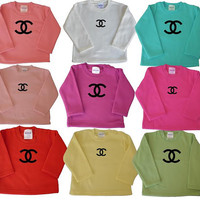 Chanel baby Child Sweatshirt Replica CC logo in many colors, Sizes: 6M-child size 6, Paris Long sleeve t Shirt boy girl Chanel baby shower