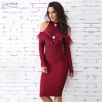 Adyce 2018 New Arrival Winter Wine Red Feather Embellished Bandage Dress Sexy Long Sleeve Celebrity Evening Party Dress Vestidos
