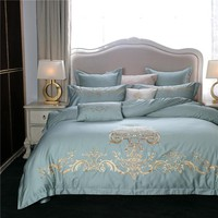 Embroidery Egyptian cotton luxury bedding set queen king size blue green pink bed linen/sheet set Quilt duvet cover pillowcase