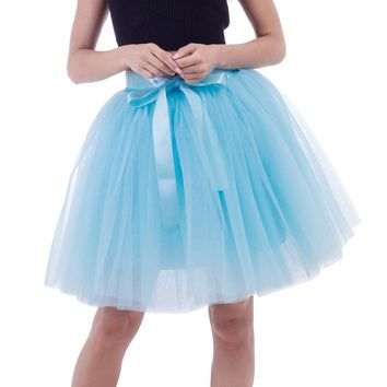 Petticoat 6 Layers Tutu Tulle Skirt Vintage Bow Tie Pleated Skirts Womens Lolita Bridesmaid Wedding faldas Mujer saias jupe