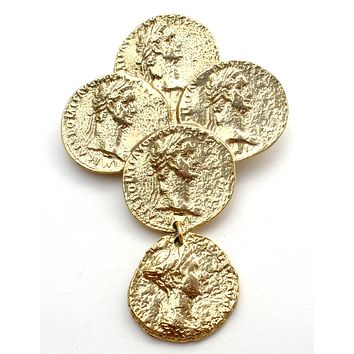 Vintage Gold Coin Brooch Pin by M Jent