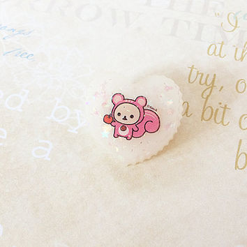 Glitter Resin Brooch - Bear Resin Heart Pin - Kawaii Resin Jewelry - Pastel Heart Charm - Glitter Resin Charm - Cute Jewelry - Squirrel Pin