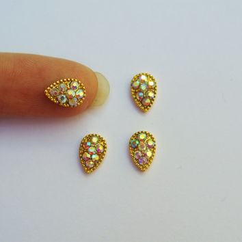 2 pc Tear Drop nail charm,Gold Nail Art,3d Nail Design,Rhinestones,Nail Bling,Wedding Nails,Prom Nails,Nail Design,Gold Nails,Accessories
