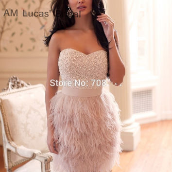 Mermaid 2017 Cocktail Dresses With Feather Mini Short Ball Gowns Short Wedding Party Dress Bride Gowns Robe De Cocktail