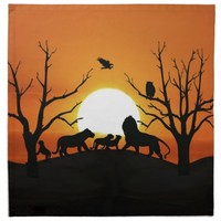 Lion family at sunset cloth napkins