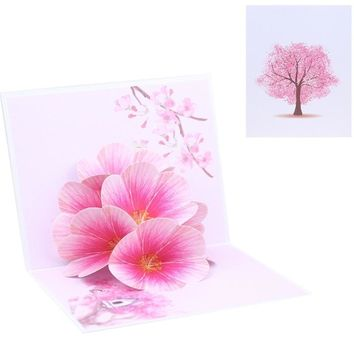 Peach Blossom Flower Greeting Cards Handmade Birthday Wedding Invitation Letter Christmas Thanksgiving 3D Pop Up Card Gift-m20