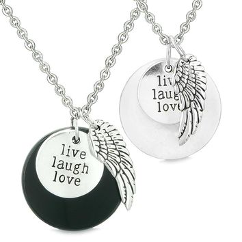 Guardian Angel Wing Live Laugh Love Inspirational Amulet Couples Set Agate White Quartz Necklaces