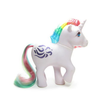 Windy My Little Pony Vintage G1 Year 3 Purple Unicorn with Rainbow Hair