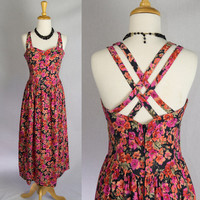 Vintage 80s Bombshell Laura Ashley Halter Sun Dress S Pretty Double Straps