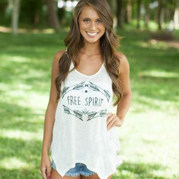 White Letters Printed Tank Top