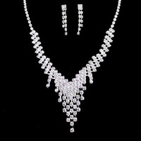 V-Shaped Rhinestoned Tassel Necklace and Earrings